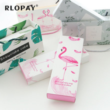 Creative Flamingo Green Leaves Tote Bag Nougat Cookies Gift Box Wedding Chocolate Cake Bread Packing Paper Paperboard Boxs