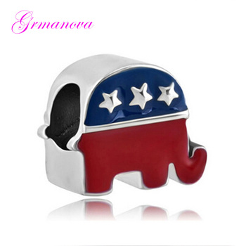 American animal elephant flag zinc alloy lucky European big hole charm beads amulet Fit Pandora Bracelet Women's DIY Jewelry image