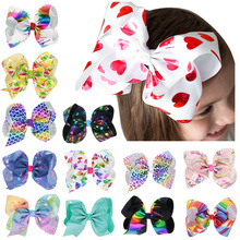цена на 8 inches Big Bow Clip Boutique Hair Bows For Girls Kids Children Women Alligator Hair Clips Grosgrain Ribbon Bows