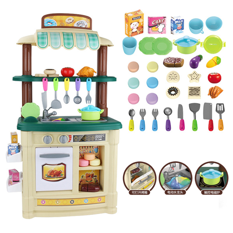 New Big Size Height 85cm Kitchen Plastic Pretend Play Toy With Light Kids Kitchen Cooking Toy Gift Play Food Children Toys D24 baby miniature kitchen plastic pretend play food children toys with music light kids kitchen cooking toy set for girls games hot