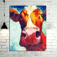Hand Painted Animal Oil Paintings Modern Abstract Wall Art Home Decor Large Colorful Pictures Handmade Red Cow Canvas Painting