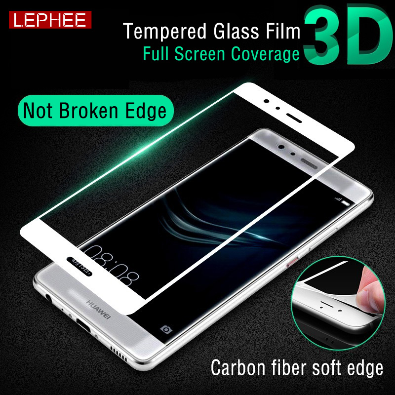 Lephee Huawei P9 / P9 Plus <font><b>Tempered</b></font> <font><b>Glass</b></font> Film+3D <font><b>ARC</b></font> Soft Edge Carbon fiber <font><b>Full</b></font> <font><b>Screen</b></font> <font><b>Cover</b></font> Film Retail Box Original huaweip9