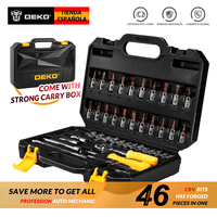 DEKO 46 Piece Hand Tool Set General Household Hand Tool Kit with Plastic Toolbox Storage Case Wrench Screwdriver Socket