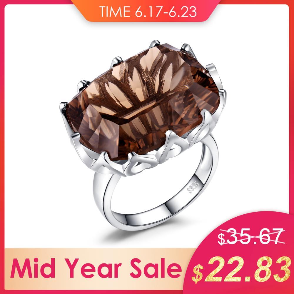 Bijourypalace énorme Unique Concave 20ct véritable naturel fumé Quartz anneau solide 925 en argent Sterling anneaux pour les femmes bijoux fins