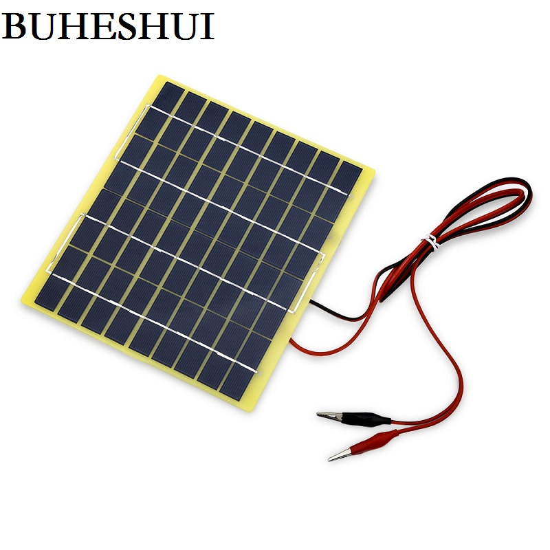 BUHESHUI 5W 18V Polycrystalline Solar Panel Solar Cell+1M Cable Crocodile Clip For 12V Battery Charger High Quality