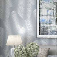 Non Woven 3d Modern Abstract Wave Stripe Wallpaper Tv Bedroom Wallpaper