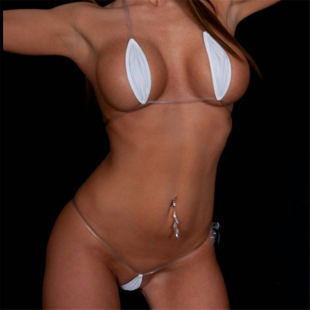 Micro Bikini 2019 Sexy Transparent Invisible Belt Oval White Beach Sun Bath Swimwear Women Swimsuit Women Biquini Mini Bikinis