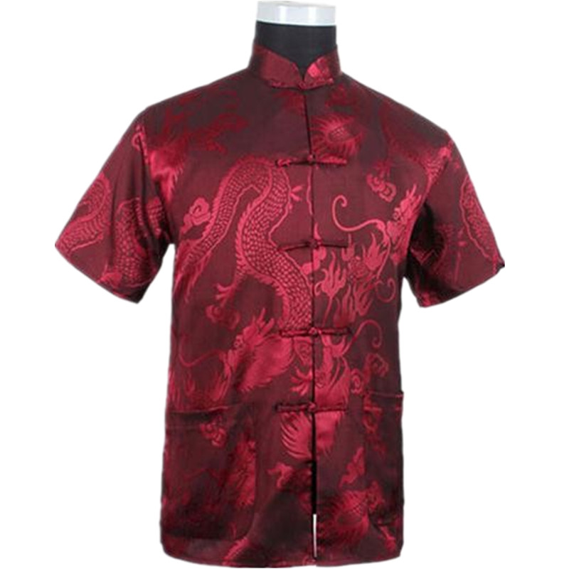 Burgundy Chinese Men Summer Leisure Shirt High Quality Silk Rayon Kung Fu Tai Chi Shirts Plus Size M L XL XXL XXXL  M061308 Рубашка