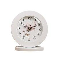 6 Inch White Classic Wooden Silent Table Clock Retro creative Art Desk Clock Home decro
