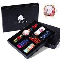 Wal-Vreugde Brand Charmant Bloem Doek Horloge Vrouwen Kleine Gezicht Casual Stof Strap Lady Waterdicht DIY Horloge Set Gift (9020-1)