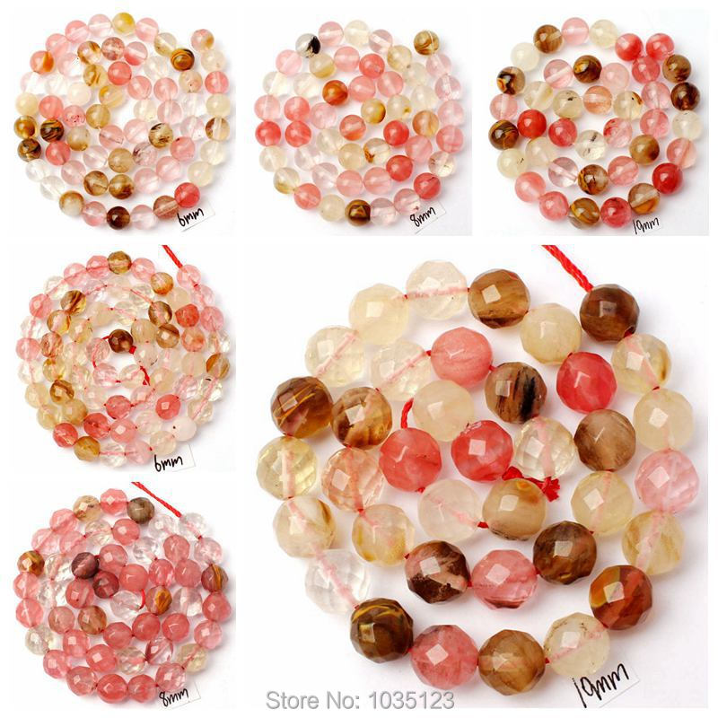 Free Shipping 6mm Mixed Color Watermelon Crystal Round Shape Gems Loose Beads Strand 15 DIY Creative Jewellery Making w3074