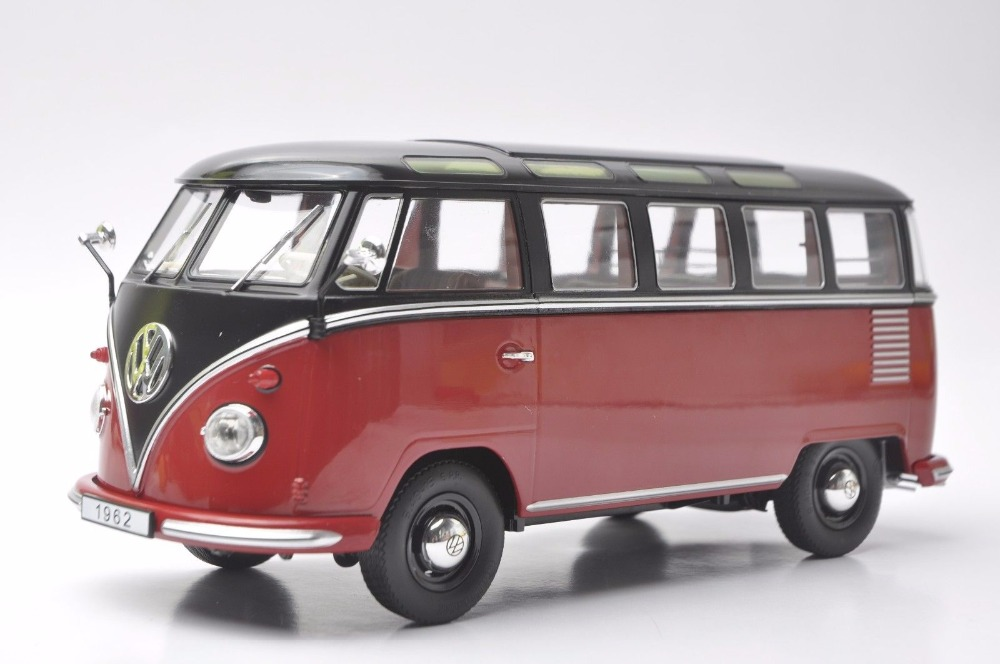 1:18 Diecast Model for Volkswagen VW T1 Samba 1962 Red&Black Bus Kombi Alloy Toy Car Miniature Collection Gifts T2 1 38 china gold dragon bus models xml6122 diecast bus model blue