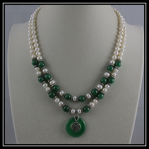 Unique Pearls jewellery Store,Charming 2rows Green Jades White Freshwater Pearl Necklace.Charming Women Gift Birthday Jewelry
