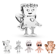 Flower Fairy Bella Robot Charms Bead Fit Original Pandora Bracelet Necklace For Women Jewelry DIY Making