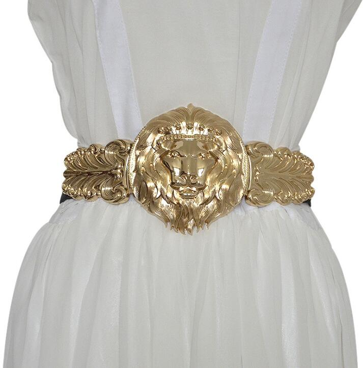 Women's Runway Fashion Gold Lion Buckle Elastic Cummerbunds Female Dress Corsets Waistband Belts Decoration Wide Belt R1382