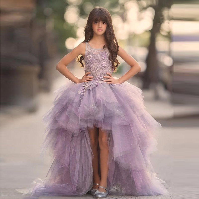 New Purple Flower Girls Dresses for Wedding Formal Ruffles Appliques O-Neck Pageant Communion Party Gown Size 2-16YNew Purple Flower Girls Dresses for Wedding Formal Ruffles Appliques O-Neck Pageant Communion Party Gown Size 2-16Y