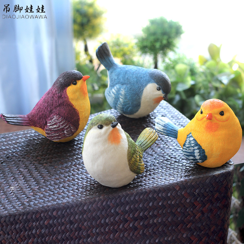Lifelike Resin Bird Figurines Ornents Creative Outdoor Gardening Magpie Artware Home Decoration 1 ცალი უფასო გადაზიდვა