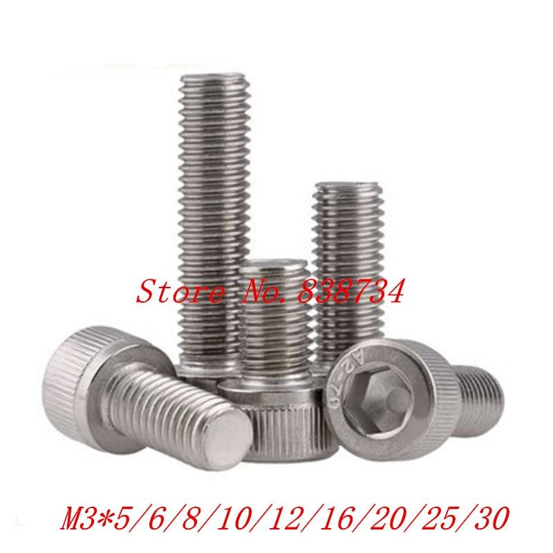 100pcs/lot din912 M3*5/6/8/10/12/16/20/25/30 3mm thread stainless steel hex allen socket cap machine screw 20pcs m3 6 m3 x 6mm aluminum anodized hex socket button head screw