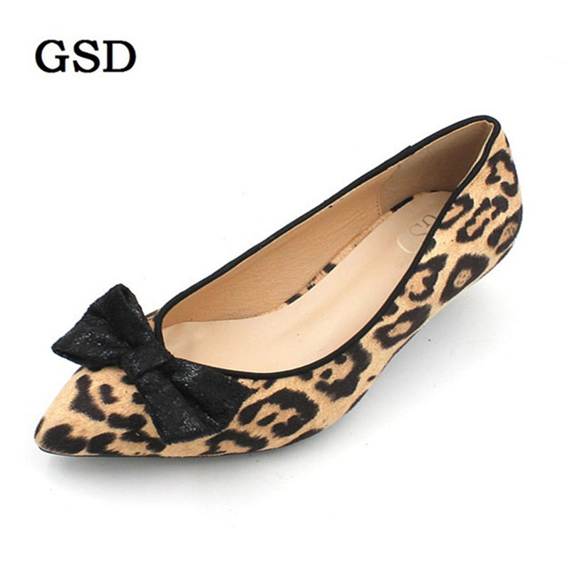 2019 New Pumps Women Shoes Casual Summer Low Heels Pumps Pointed Toe Leopard Pattern Suede Shoes