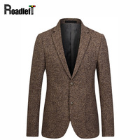 Male Woolen Blended Fabrics Slim Fit Blazer Mens Brand Clothing Suit Jacket Men Wedding Dress Suit