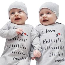 1 set Baby Clothes Set for Newborn Overall Letter Print Long Sleeve Romper Hat Toddler Jumpsuit Infant Outfit Set