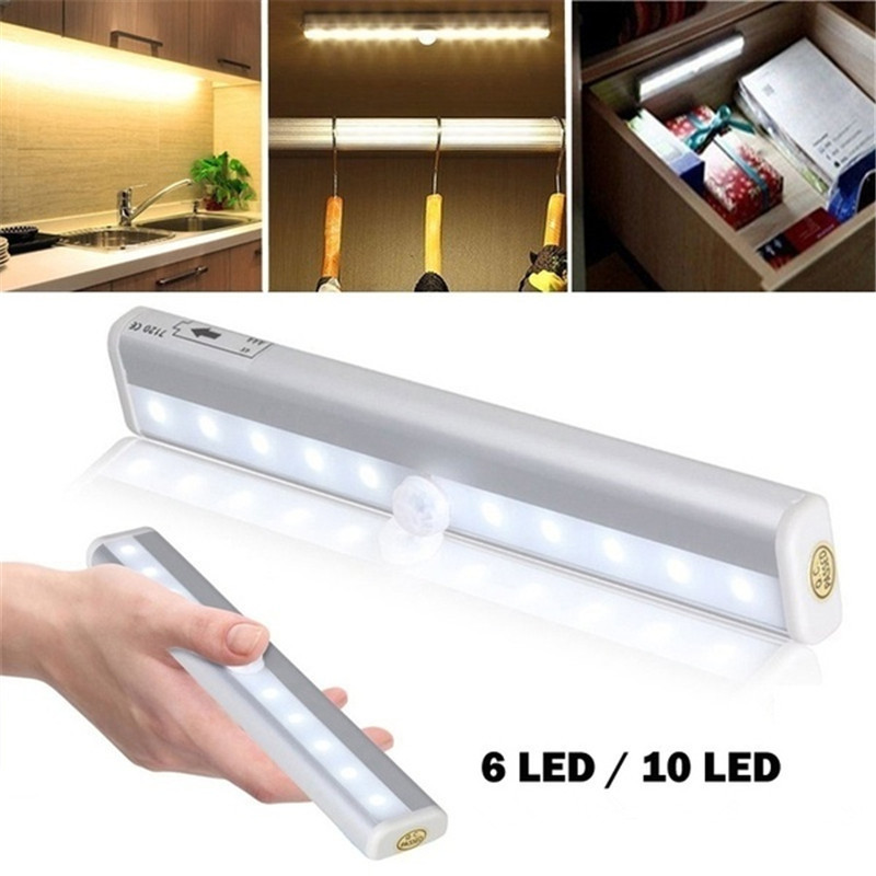 Wireless PIR Motion Sensor LED Lamp Light 6/10 LEDs LED Under Cabinet Light Cold/Warm White Wall Lamp For Kitchen Closet Lights