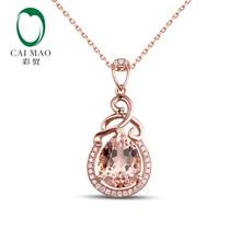 2.32ct Caimao VS Pear Cut Morganite y 0.13ct Natural Diamond 14 k de Oro Rosa de Compromiso Colgante
