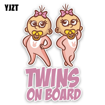 YJZT 10,2*16,5 CM pegatina para decoración de coche de dibujos animados encantadores gemelos bebé a bordo de colores gráficos señal de advertencia pegatinas C1-5608