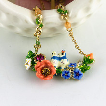 Fashion necklace 2016 Fashion new enamel of pure and fresh and contracted rural wind flower lovers bird parrot complex necklace