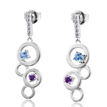 DORMITH free shipping 925 sterling silver earrings 0.7carct AAA cubic zirconia for women fashion drop