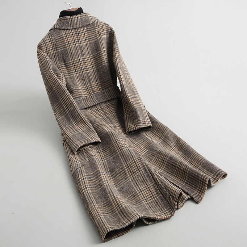 AYUNSUE 2019 модное шерстяное пальто для женщин, клетчатое двухстороннее Женское пальто, длинное зимнее женское пальто с поясом manteau femme 18015