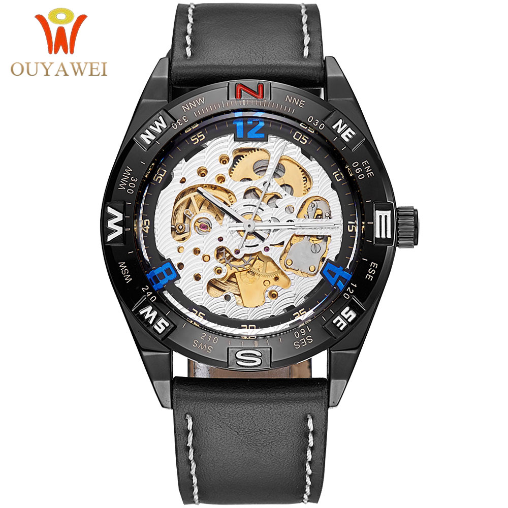 Top Fashion Brand Watch Men's Automatic Skeleton Mechanical Watch Men Sport Leather Watches Man Clock Relogio Masculino OUYAWEI стоимость