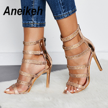 Aneikeh Sexy Bling Crystal Gladiator Sandals Rhinestone Wome