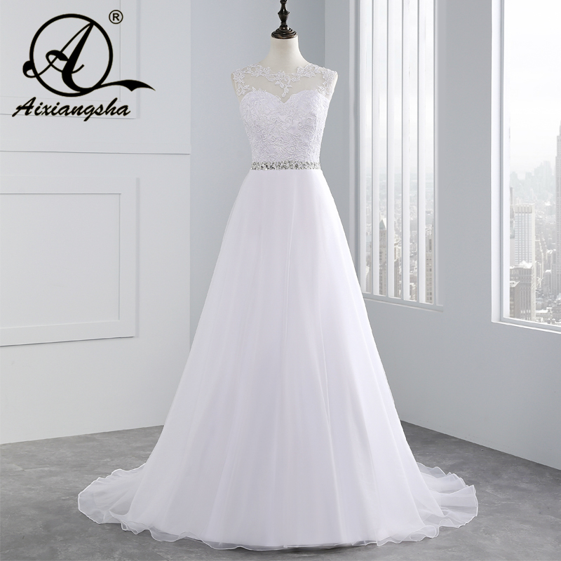Cheap A-Line Lace Appliques Wedding Dress 2018 Vintage Plus Size Vestido de Novia with Beading Button Sash Sexy Robe De Mariage