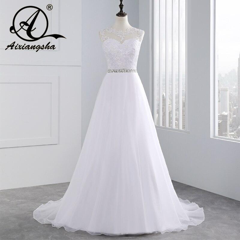 Cheap A-Line Lace Appliques Wedding Dress 2018 Vintage Plus Size Vestido de Novia with Beading Button Sash Sexy Robe De Mariage