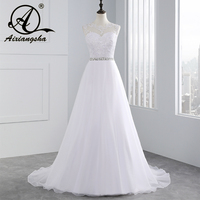 Vestido De Novia 2016 High Fashion A Line Wedding Dresses With Beading Sash And Lace Appliques