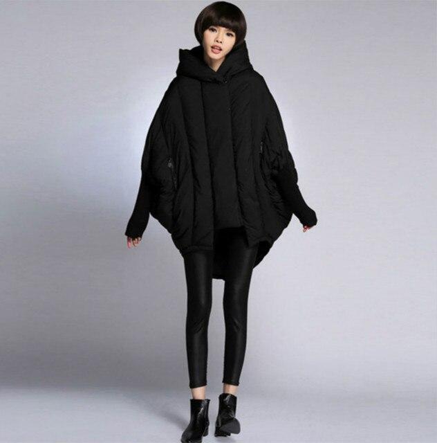 Новый Женская куртка-парка bat рукавами 2017 зима средней длины утка  Подпушка свободные куртки сращены 420a21feeda