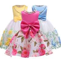 Baby Girls Clothes Elegent Bowknot Princess Dress Of Girl Birthday Wedding Party Dresses Kids Tutu Dress