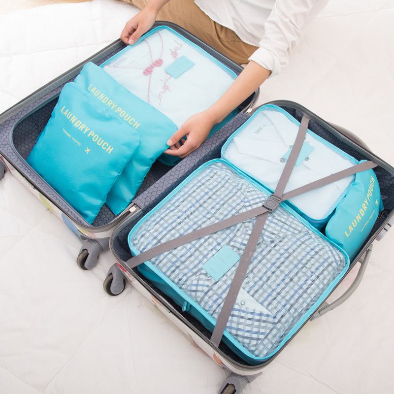 New 6PCS/Set High Quality Oxford Cloth Travel Mesh Bag In Bag Luggage Organizer Packing Cube Organiser for Clothing