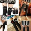 Starlist woman Harajuku Kawaii pantyhose stocking Cat Skull Cross Heart Character lovely tattoo stitching knee boots tights