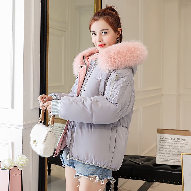 2019 new winter parka jacket women casual loose coat women short large fur collar cotton padded large size slim outerwear female(China)