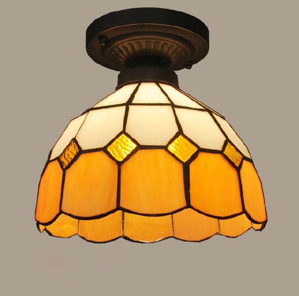 mediterranean Tiffany ceiling light stained glass porch balcony bathroom kitchen ceiling lamp 110-240V 8 inch yellow sunflowers down american tiffany glass ceiling decorated with a balcony hallway bathroom kitchen