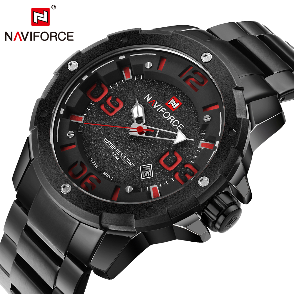 2016 New NAVIFORCE Watches Men Luxury Brand Full Steel Army Military Quartz Watch Man Sports Clock Wrist Watch Relogio Masculino new arrival quartz watch skmei causal military watches men causal watches men luxury brand relogio masculino full steel clock