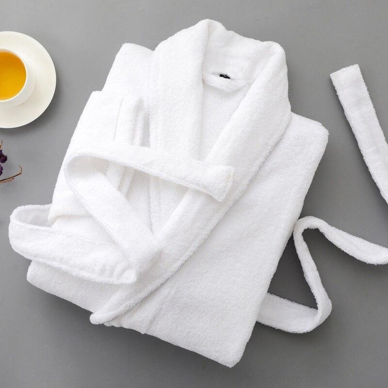Peignoir Hommes Coton Blanc Épais D'hiver Plus La taille XXL À Manches Longues Mâle Confortable Casual Accueil Vêtements de Nuit Vêtements De Nuit