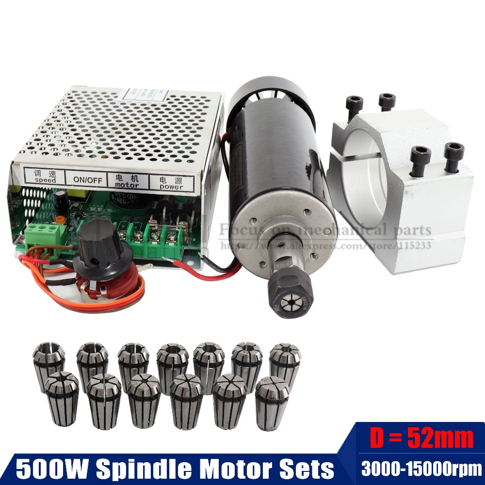 0.5Kw Air Cooled Spindle Motor+13pcs ER11 Chuck+ 52mm Clamps + Power Supply Speed Governor For DIY CNC