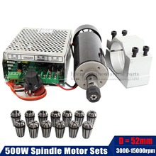 цена на 0.5Kw Air cooled spindle Motor+13pcs ER11 chuck+ 52mm clamps + Power Supply speed governor For DIY CNC