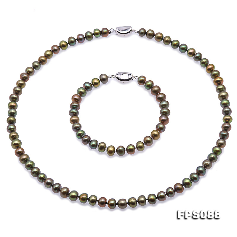 JYX Pearl Necklace Set 7-8mm AA Peacock Green Flat Natural Freshwater Pearl Necklace Bracelet Jewelry Set jyx pearl wedding jewelry set 7 7 5mm white flat round freshwater pearl necklace
