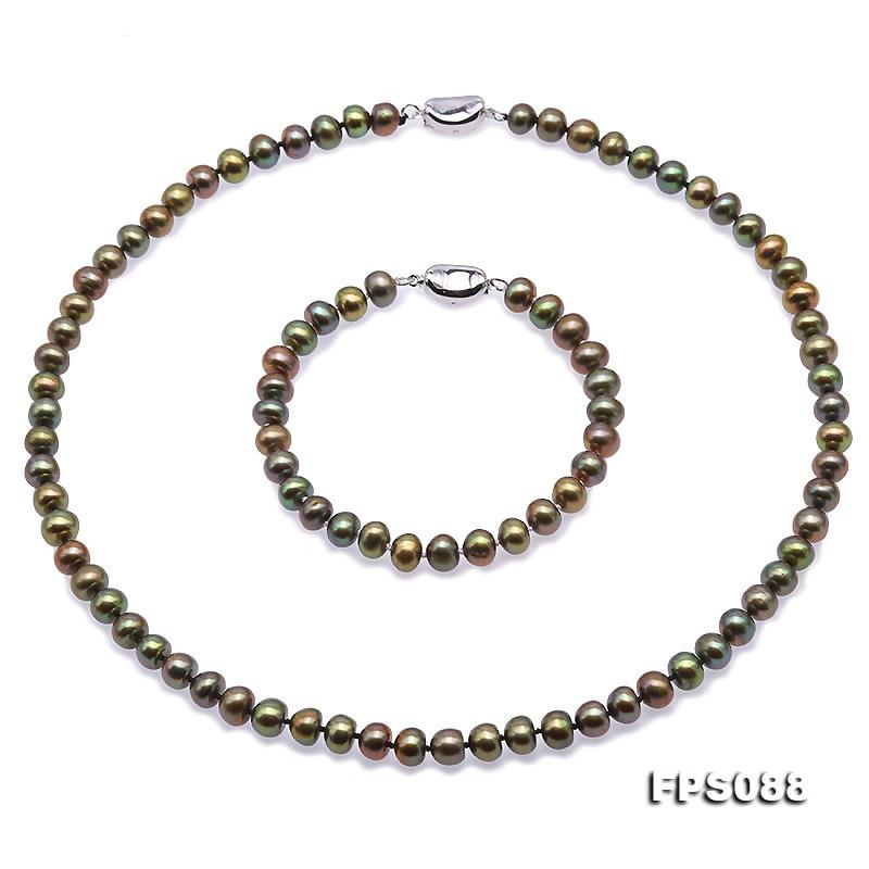 JYX collier de perles ensemble 7-8mm AA paon vert plat naturel collier de perles deau douce Bracelet ensemble de bijouxJYX collier de perles ensemble 7-8mm AA paon vert plat naturel collier de perles deau douce Bracelet ensemble de bijoux