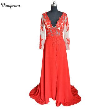 Real Photo Red Lace 2018 Arabic Evening Dresses Sweetheart A-line Chiffon Prom Dresses Vintage Cheap Formal Party Gowns