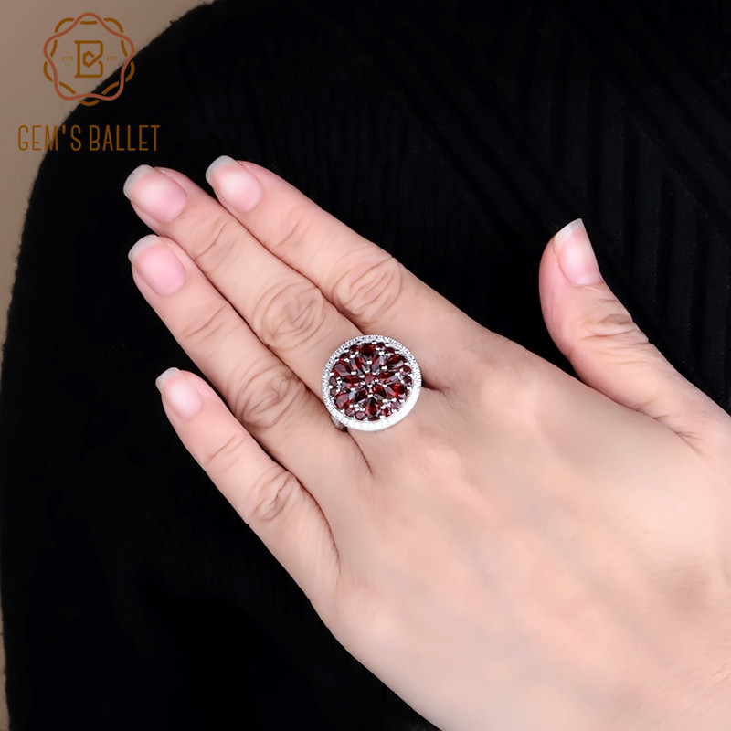 GEM'S BALLET 3.88Ct Round Natural Red Garnet Gemstone Ring 100%925 Sterling Silver Classic Cocktail Rings For Women Fine Jewelry